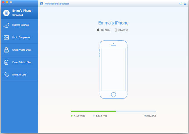 iOS Data Eraser for Mac, iPhone Data Eraser for Mac - Main Screenshot