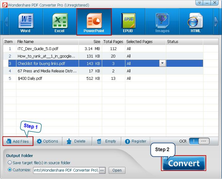 Convert PDF to PowerPoint - interface