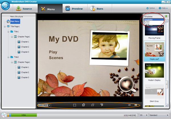convert MKV to DVD, burn MKV to DVD, MKV to DVD converter - menu template