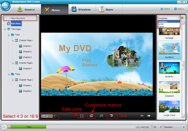 DVD Burner, DVD Creator software - Editing
