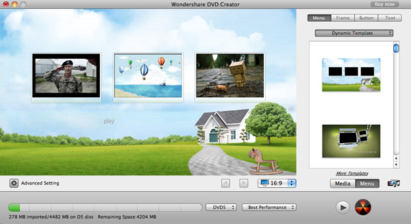 iPhoto slideshow to DVD, burn iPhoto slideshow, export iPhoto slideshow to DVD - Menu