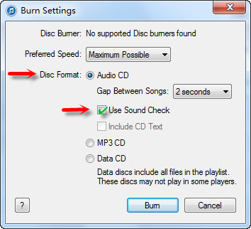 Burn Spotify to CD, burn cd from spotify - Burn Settings