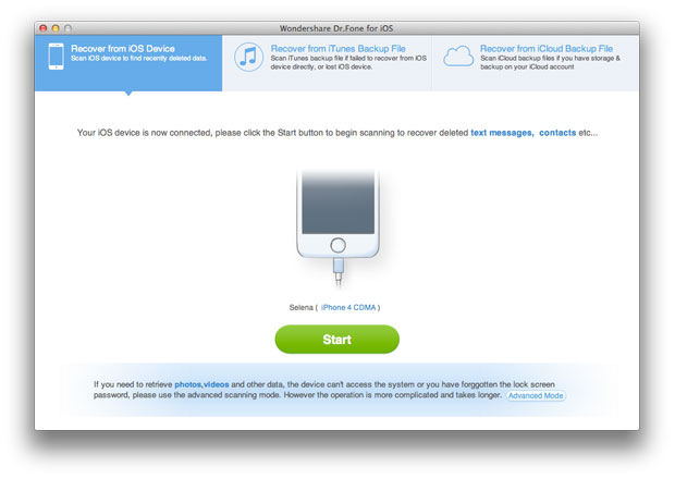 iPhone Data Recovery for Mac, Mac iPhone 4 Data Recovery - Main Screenshot