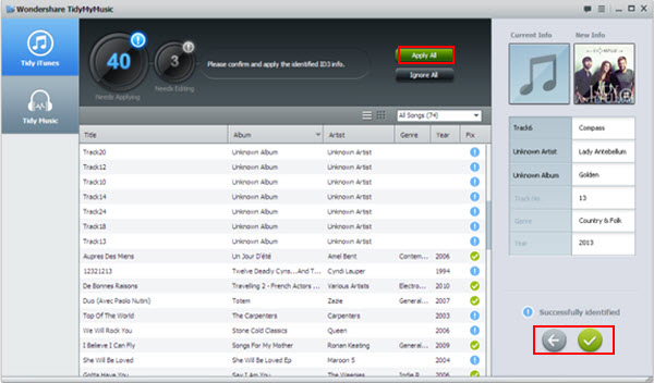 Wondershare TidyMyMusic, fix mislabeled songs, find album arts - Main Screenshot